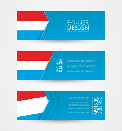 Set of three horizontal banners with flag of Luxembourg. Web banner design template in color of Luxembourg flag. Vector illustration. Vectores