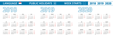 Simple calendar template in Dutch for 2018, 2019, 2020 years. Week starts from Monday