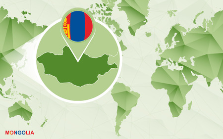 America centric world map with magnified Mongolia map. Green polygonal world map.