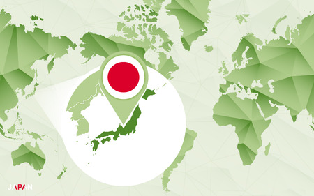 America centric world map with magnified Japan map. Green polygonal world map. Vetores