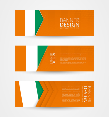 Set of three horizontal banners with flag of Ivory Coast. Web banner design template in color of Ivory Coast flag. Vector illustration.