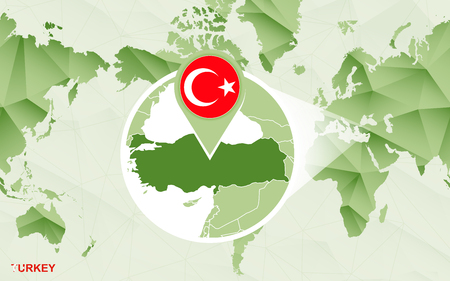 America centric world map with magnified Turkey map. Green polygonal world map.