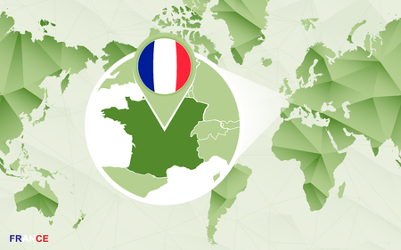 America centric world map with magnified France map. Green polygonal world map.