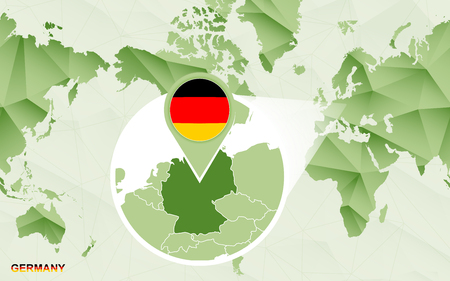 America centric world map with magnified Germany map. Green polygonal world map. Ilustrace