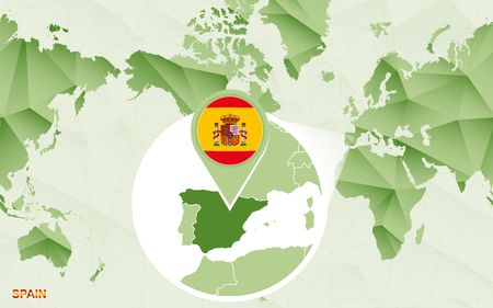 America centric world map with magnified Spain map. Green polygonal world map.