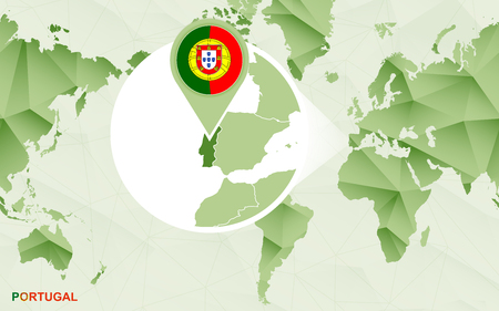 America centric world map with magnified Portugal map. Green polygonal world map. Ilustrace