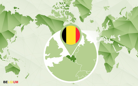America centric world map with magnified Belgium map. Green polygonal world map.