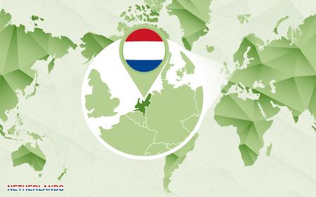 Amerika centric wereldkaart met vergrote kaart van Nederland. Groene veelhoekige wereldkaart. Vector Illustratie