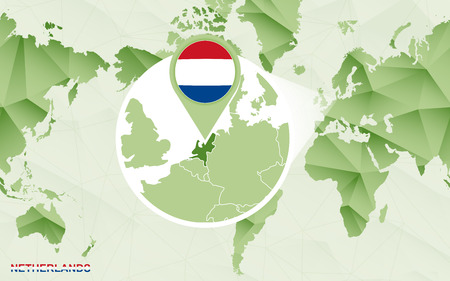 America centric world map with magnified Netherlands map. Green polygonal world map.
