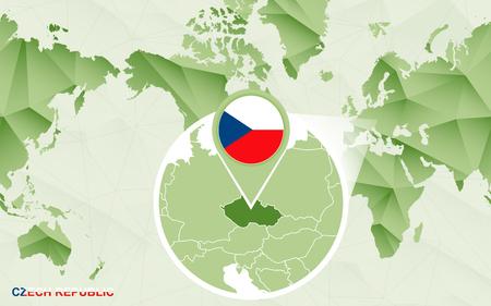 America centric world map with magnified Czech Republic map. Green polygonal world map. Ilustração