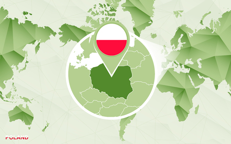 America centric world map with magnified Poland map. Green polygonal world map.