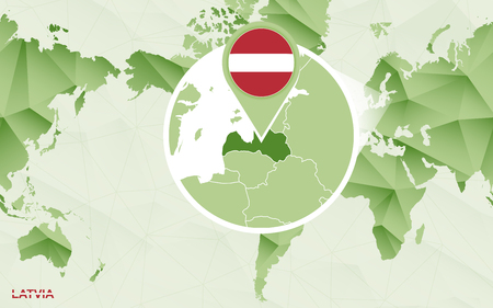 America centric world map with magnified Latvia map. Green polygonal world map. Ilustrace