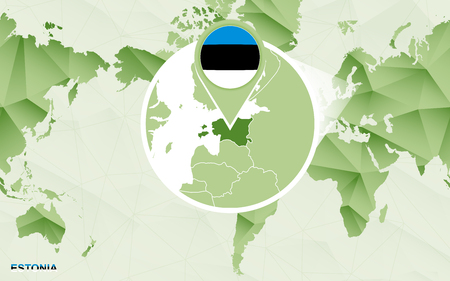 America centric world map with magnified Estonia map. Green polygonal world map.