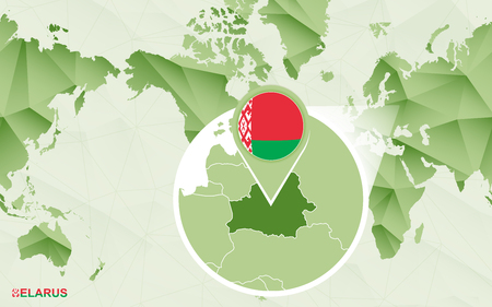 America centric world map with magnified Belarus map. Green polygonal world map.