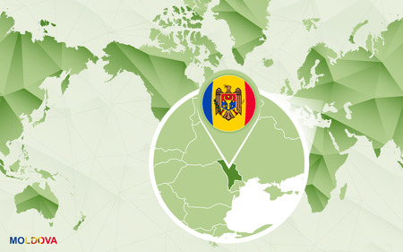 America centric world map with magnified Moldova map. Green polygonal world map. Illustration