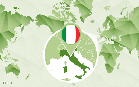 America centric world map with magnified Italy map. Green polygonal world map.