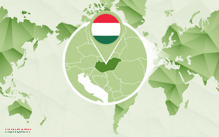 America centric world map with magnified Hungary map. Green polygonal world map. Ilustrace