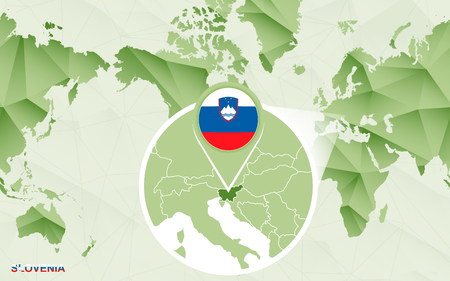 America centric world map with magnified Slovenia map. Green polygonal world map. Ilustrace
