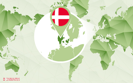 America centric world map with magnified Denmark map. Green polygonal world map.