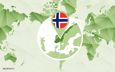 America centric world map with magnified Norway map. Green polygonal world map.