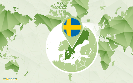 America centric world map with magnified Sweden map. Green polygonal world map.