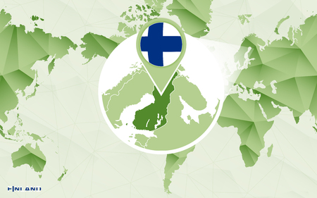America centric world map with magnified Finland map. Green polygonal world map.