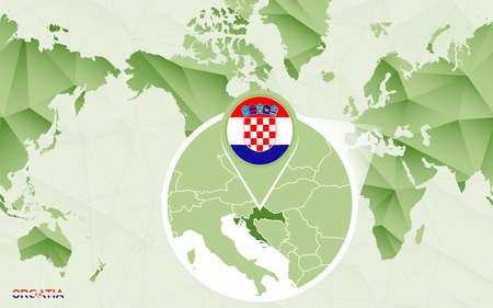America centric world map with magnified Croatia map. Green polygonal world map.