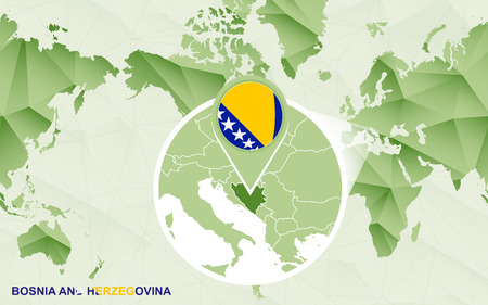America centric world map with magnified Bosnia and Herzegovina map. Green polygonal world map. Ilustrace