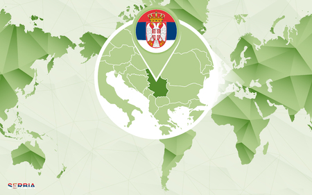 America centric world map with magnified Serbia map. Green polygonal world map. Ilustrace