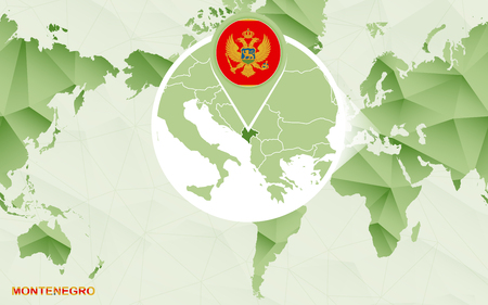 America centric world map with magnified Montenegro map. Green polygonal world map.