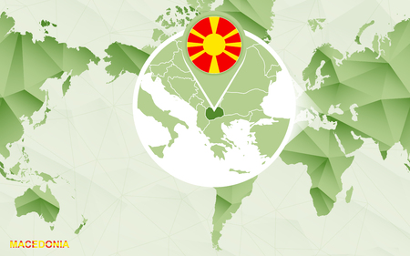 America centric world map with magnified Macedonia map. Green polygonal world map.