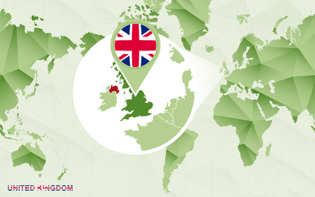 America centric world map with magnified United Kingdom map. Green polygonal world map.