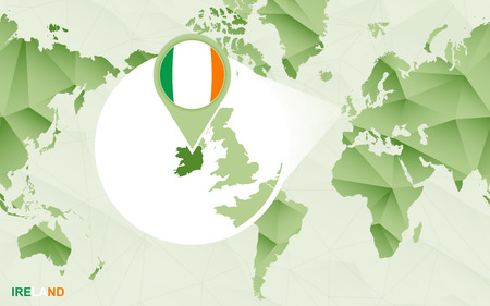America centric world map with magnified Ireland map. Green polygonal world map. Ilustrace