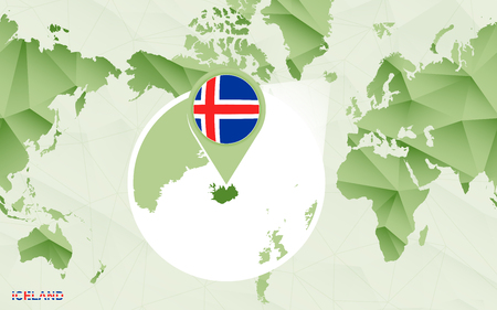 America centric world map with magnified Iceland map. Green polygonal world map. Ilustrace