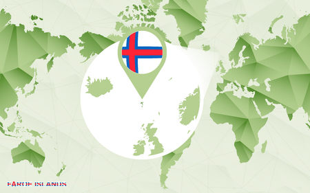 America centric world map with magnified Faroe Islands map. Green polygonal world map.