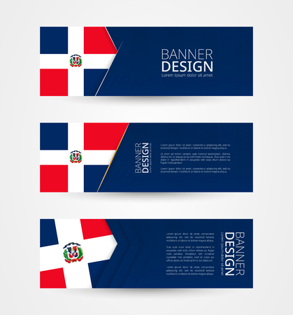 Set of three horizontal banners with flag of Dominican Republic. Web banner design template in color of Dominican Republic flag. Vector illustration. Ilustração