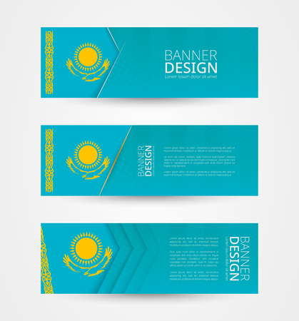 Set of three horizontal banners with flag of Kazakhstan. Web banner design template in color of Kazakhstan flag. Vector illustration.
