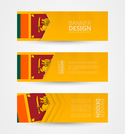 Set of three horizontal banners with flag of Sri Lanka. Web banner design template in color of Sri Lanka flag. Vector illustration.