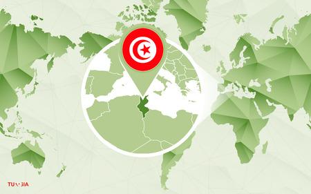 America centric world map with magnified Tunisia map. Green polygonal world map. Ilustração