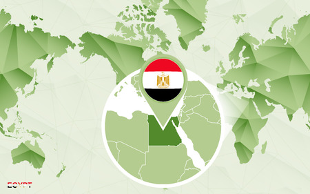America centric world map with magnified Egypt map. Green polygonal world map. Ilustração