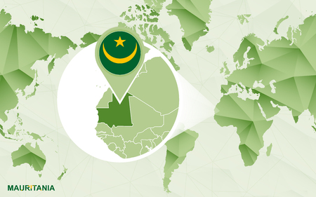 America centric world map with magnified Mauritania map. Green polygonal world map. Ilustração