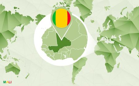 America centric world map with magnified Mali map. Green polygonal world map. Ilustração