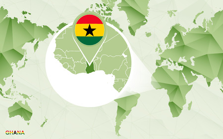 America centric world map with magnified Ghana map. Green polygonal world map.