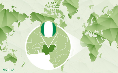 America centric world map with magnified Nigeria map. Green polygonal world map.