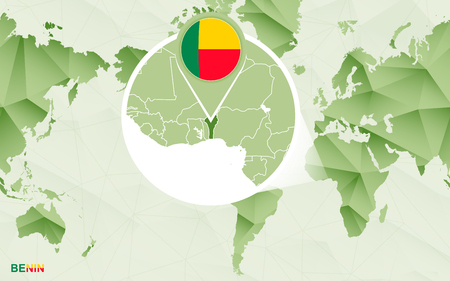 America centric world map with magnified Benin map. Green polygonal world map. Ilustração