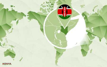 America centric world map with magnified Kenya map. Green polygonal world map.