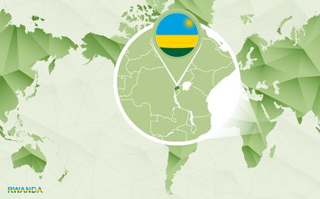 America centric world map with magnified Rwanda map. Green polygonal world map. Ilustração