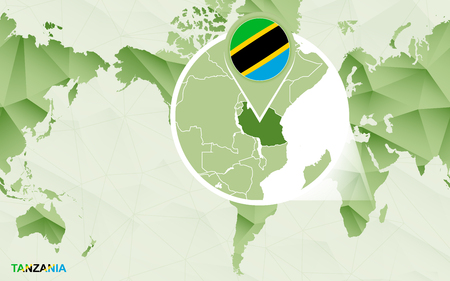 America centric world map with magnified Tanzania map. Green polygonal world map.