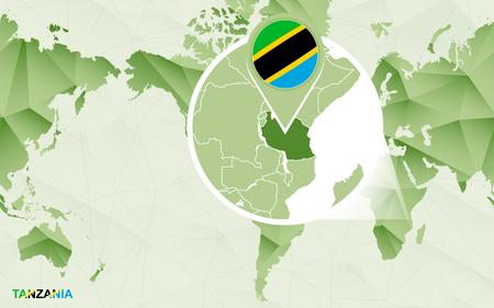 Amerika-zentrische Weltkarte mit vergrößerter Tansania-Karte. Grüne polygonale Weltkarte. Vektorgrafik