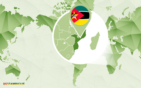 America centric world map with magnified Mozambique map. Green polygonal world map. Illustration